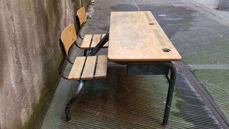 Mid 20th Century French Wooden And Metal Double School Bench 1950