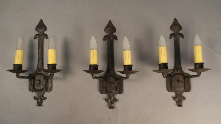 Double Sconces circa 1920s Fits Nicely with Spanish Revival and Tudor In Good Condition For Sale In Pasadena, CA