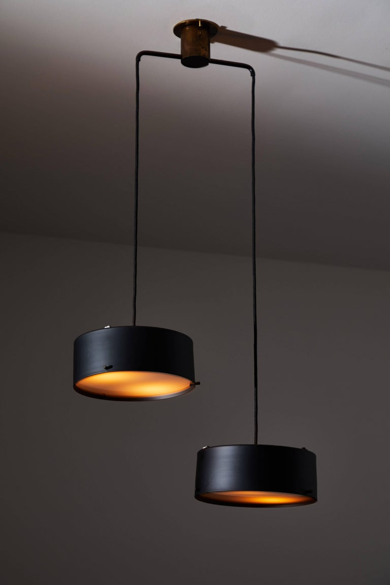 Italian Double Shade Chandelier by Stilnovo For Sale