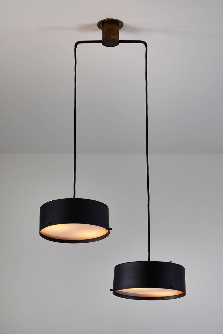 Powder-Coated Double Shade Chandelier by Stilnovo For Sale