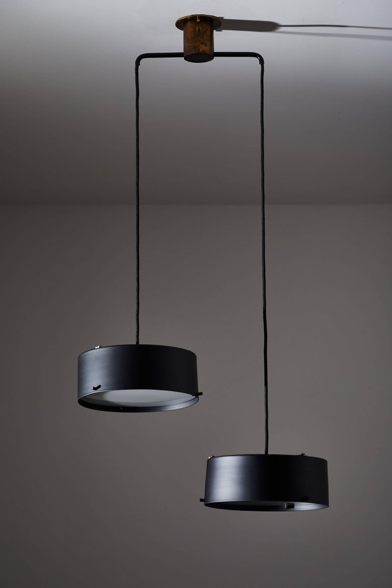 Mid-20th Century Double Shade Chandelier by Stilnovo For Sale