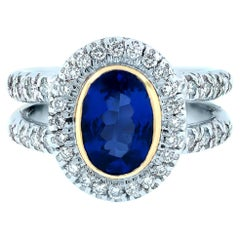 Double Shank Tanzanite and Diamond Pave Solitaire Ring, 14 Karat White Gold