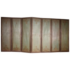 Double Side Folding Screen 18th Century Painting, 7 Fold