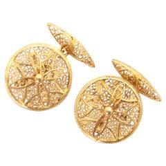 Double Sided 18 Karat Gold Openwork Cannetille Chain Cufflinks