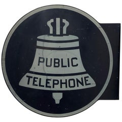 Double Sided 1940s Porcelain Enamel Public Phone Sign