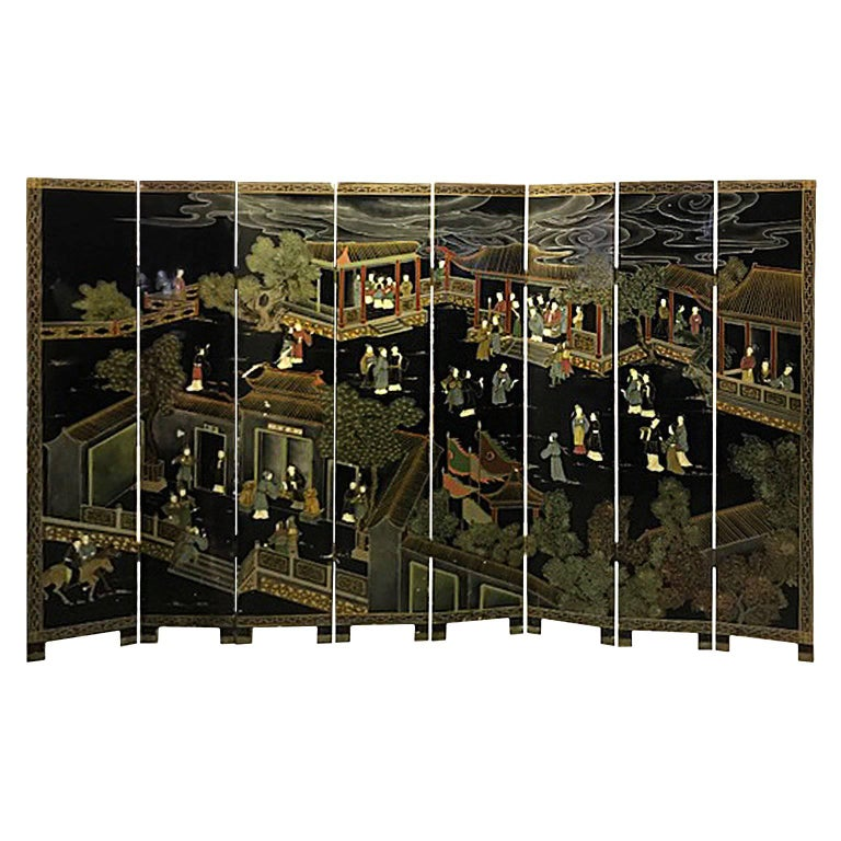 Double Sided Eight-Panel Chinese Screen For Sale