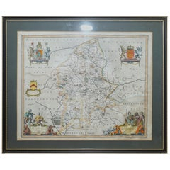 Double Sided and Glazed Cheshire 1645 Hand Colored Antique Print Map Rare Find