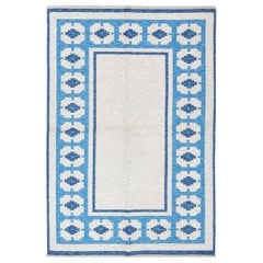 Double-Sided Blue Vintage Swedish Kilim. Size: 4 ft 6 in x 6 ft 8 in
