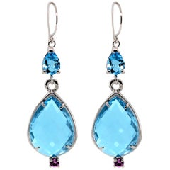 Double Sided Briolette Blue Topaz White Gold Hoop Earrings