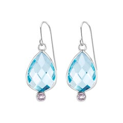 Double Sided Briolette Pear Shape Blue Topaz Bezel Set Silver Hoop Earrings
