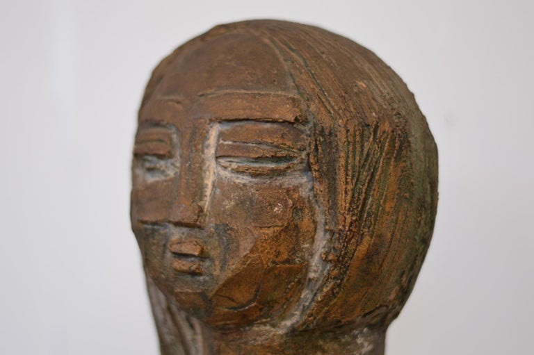 Mid-Century Modern Double Sided Bust Sculpture by Lim Nang Seng For Sale