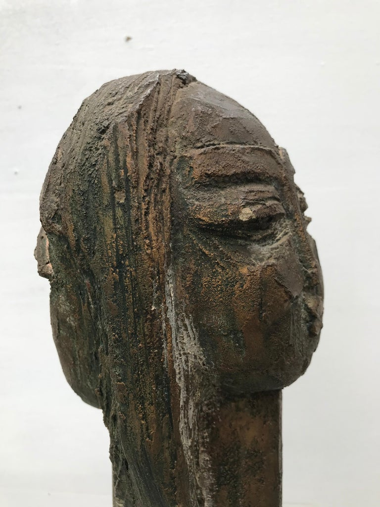 Clay Double Sided Bust Sculpture by Lim Nang Seng For Sale