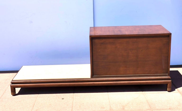 Double Sided Cabinet with Marble Side by Renzo Rutilli for Johnson Furniture In Good Condition For Sale In San Diego, CA