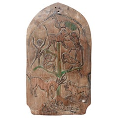 Double-Sided Carved Wooden Blawong Board from Java, circa 1920s-1950s