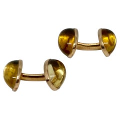 Double-Sided Cufflinks with Citrines Set in 14 Karat Yellow Gold by Riker Bros.