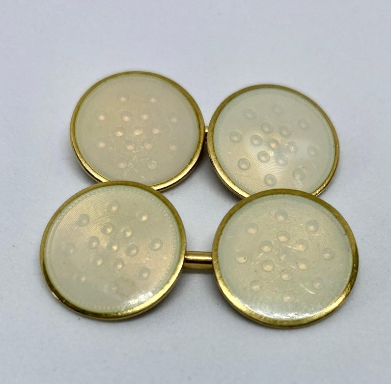 Art Deco Double-Sided Cufflinks with Yellow Gold and Creme-Colored Enamel For Sale
