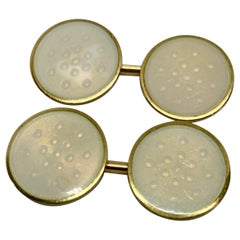 Double-Sided Cufflinks with Yellow Gold and Creme-Colored Enamel