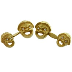 Double-Sided Diamond Yellow Gold Sculpted Greek Comedy Cufflinks