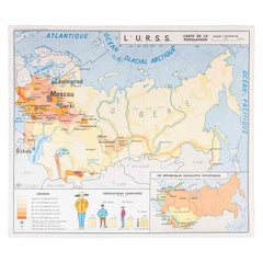 Double Sided Educational School Poster of the Populations of China and USSR