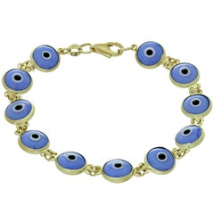 Double-Sided Enamel Evil Eye Yellow Gold Bracelet