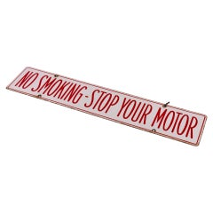 Double Sided Enamel Sign No Smoking Stop your Motor Old Garage Petrol Station
