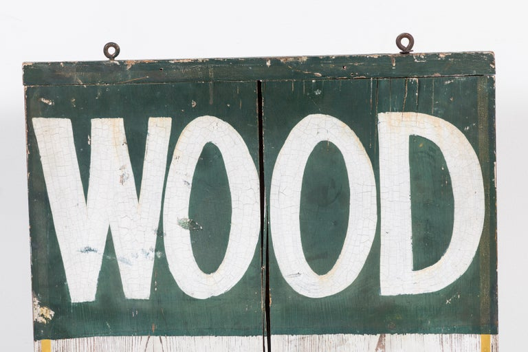 Folk Art Double Sided General Store Wood and Ice Trade Sign For Sale