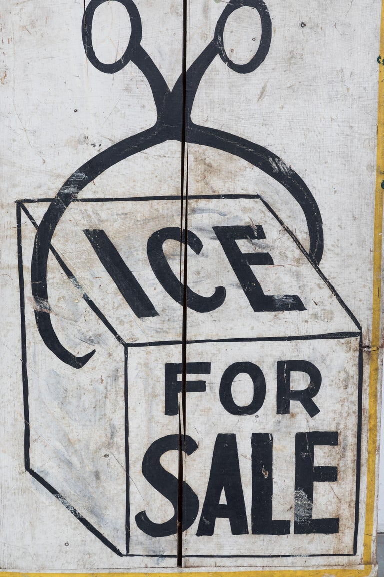 Early 20th Century Double Sided General Store Wood and Ice Trade Sign For Sale