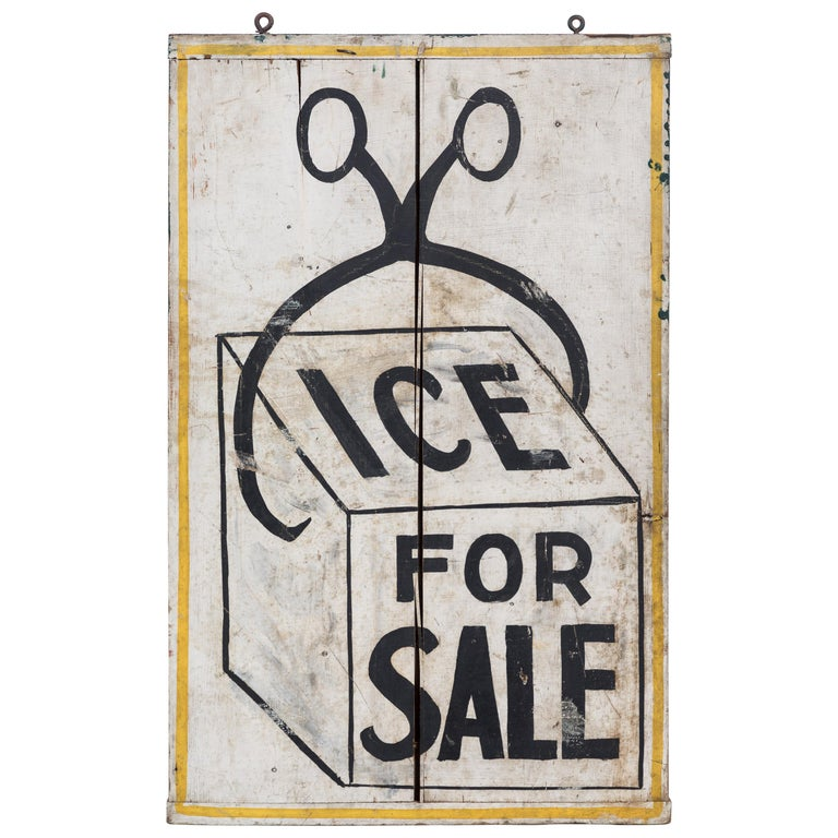 Double Sided General Store Wood and Ice Trade Sign For Sale
