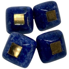 Double-Sided Lapis Cufflinks with 14 Karat Gold and Sterling Silver