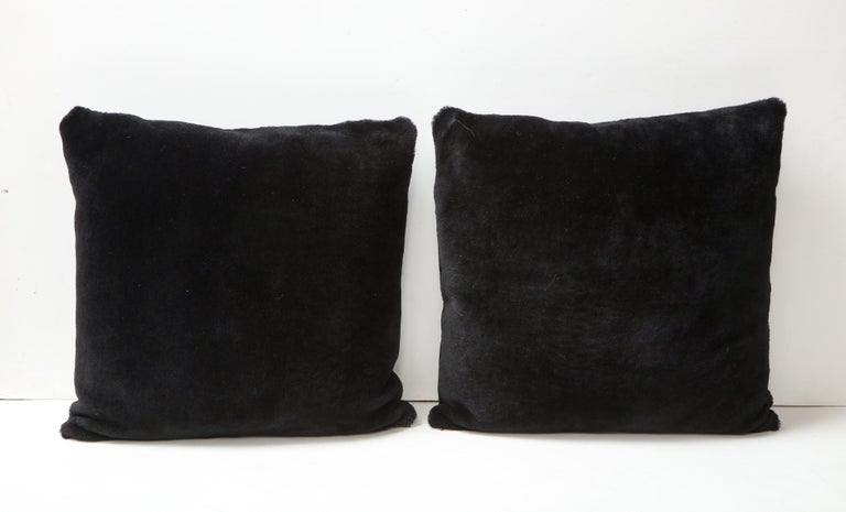 Modern Double Sided Merino Shearing Pillow in Black Color For Sale