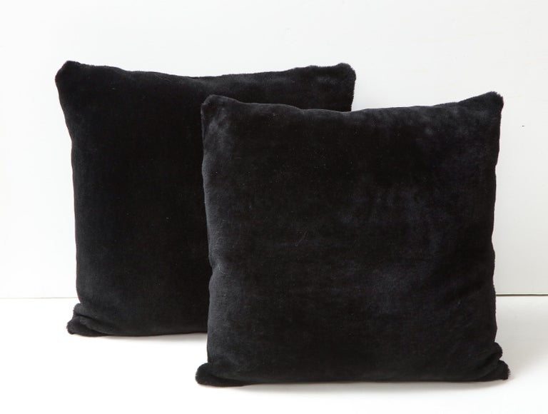 American Double Sided Merino Shearing Pillow in Black Color For Sale