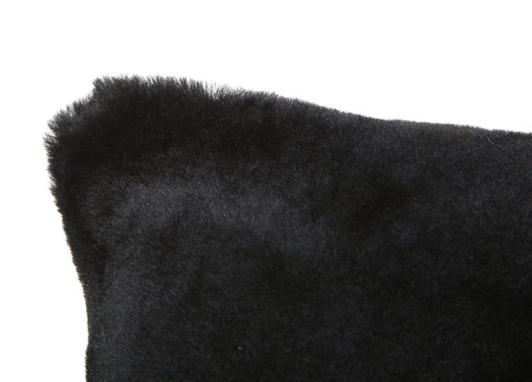 Fur Double Sided Merino Shearing Pillow in Black Color For Sale