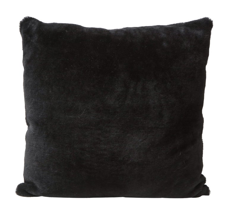 Double Sided Merino Shearing Pillow in Black Color For Sale