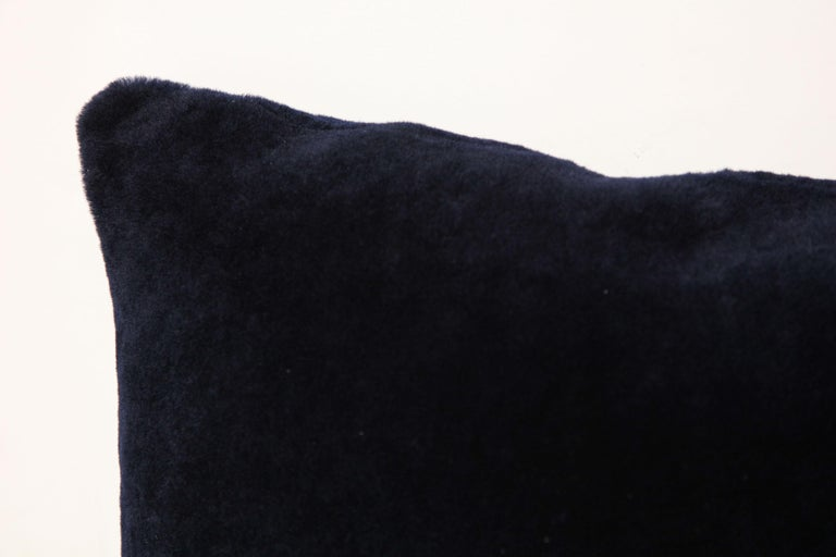 Contemporary Double Sided Merino Short Hair Shearing Pillow in Midnight Blue Color For Sale