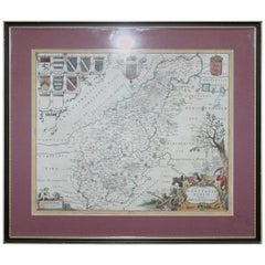 Double Sided Northamptonshire 1645 Hand Colored Antique Print Map Rare Find