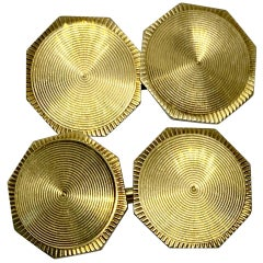Double-Sided Octagonal Art Deco Cufflinks in Yellow Gold
