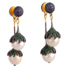 Double Sided Pearl Sapphire and Emerald Earring