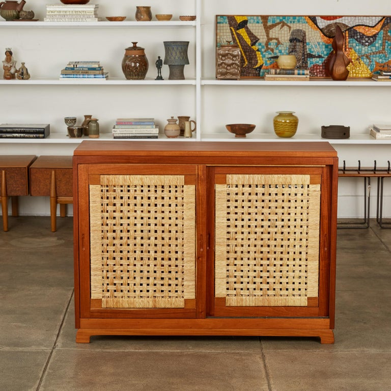 Mid-Century Modern Double Sided Rattan Credenza by Michael van Beuren for Domus Mexico