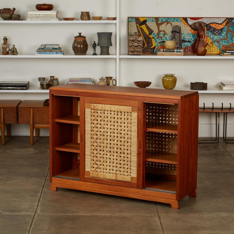 Double Sided Rattan Credenza by Michael van Beuren for Domus Mexico In Excellent Condition In Los Angeles, CA