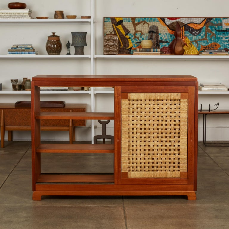 Mid-20th Century Double Sided Rattan Credenza by Michael van Beuren for Domus Mexico