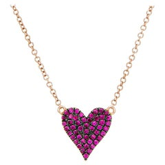 Double Sided Ruby Diamond Heart Necklace Estate 18 Karat Rose Gold