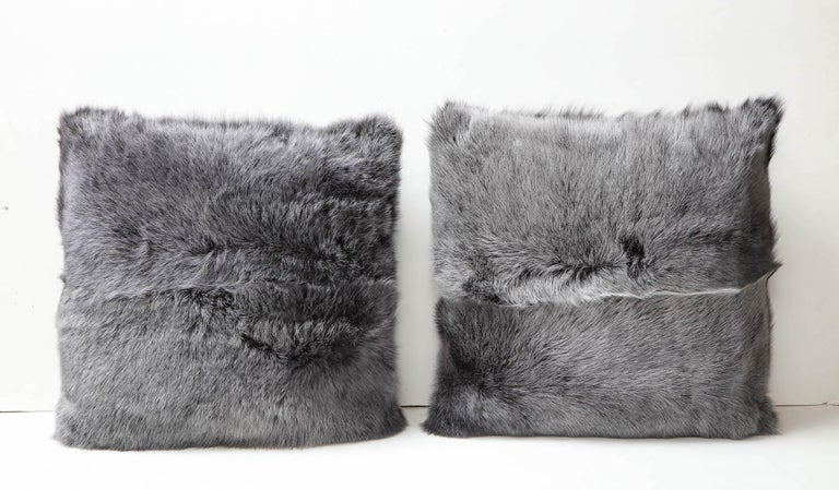 Modern Double Sided Toscana Shearing Pillow in Grey Color For Sale