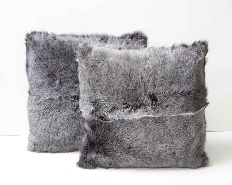 American Double Sided Toscana Shearing Pillow in Grey Color For Sale