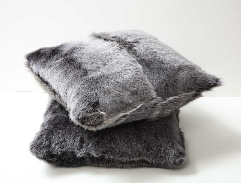 Double Sided Toscana Shearing Pillow in Grey Color In New Condition For Sale In New York, NY