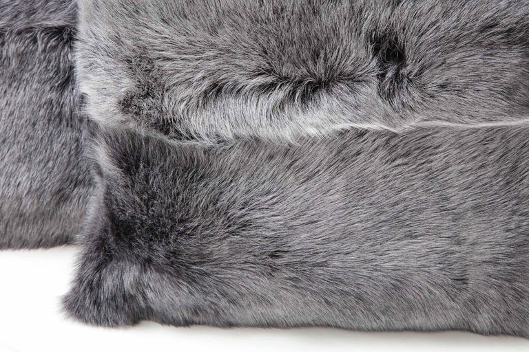 Double Sided Toscana Shearing Pillow in Grey Color For Sale 1