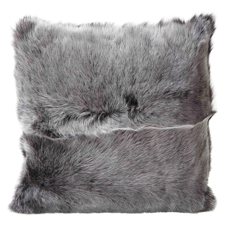 Double Sided Toscana Shearing Pillow in Grey Color For Sale