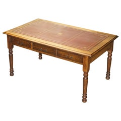 Double Sided Victorian Oak Oxblood Leather Top Library Writing Desk with Drawers