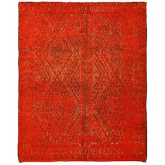 Double Sided Vintage Red Berber Moroccan Rug. Size: 7 ft x 8 ft 7 in