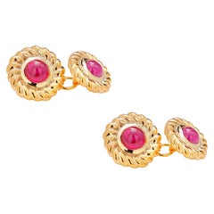 Double Sides Cufflinks Matched Pair of Cabochon Ruby