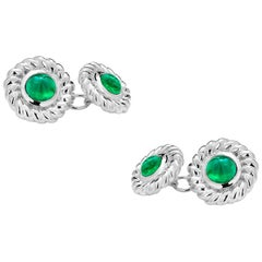 Double Sides Gold Cufflinks Matched Pair of Cabochon Emerald